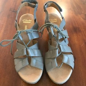 1bf885e8aa61 Clarks Shoes - NWOT Clarks Helio Mindin Wedge Sandals Lace Up